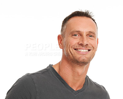 Buy stock photo Smiling mature man looking confident while isolated on white - closeup portrait