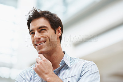 Buy stock photo Closeup of a happy young business man looking away with copyspace