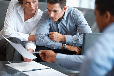 Buy stock photo Portrait of a real estate agent consulting a mature couple at office