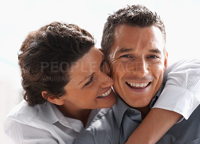 Buy stock photo Closeup portrait of a cute mature woman with her boyfriend