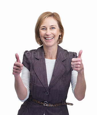 Buy stock photo Portrait of happy middle aged woman showing a thumbs up sign isolated over white background