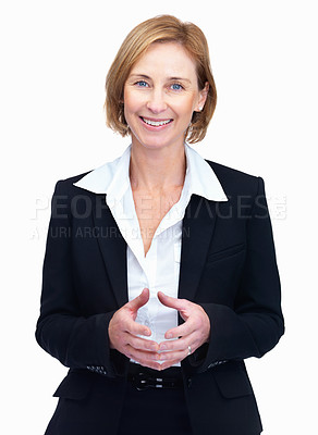 Buy stock photo Portrait of pretty mature female lawyer standing and looking at copyspace isolated over white background