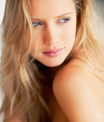 Buy stock photo Closeup of an attractive naked blond with amazing skin, looking away dreamily - copyspace