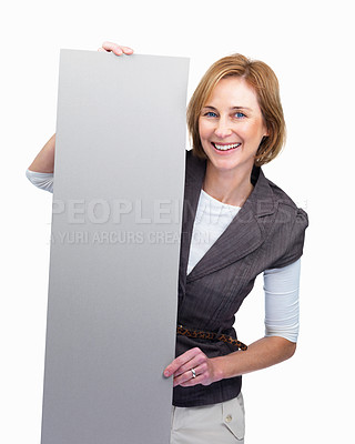Buy stock photo Portrait of  mature lady holding blank billboard isolated over white background