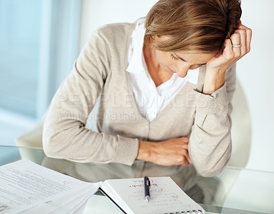 Buy stock photo Portrait of mature businesswoman in tension with hand on head at workplace