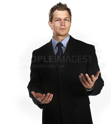 Buy stock photo Young businessman explaining things