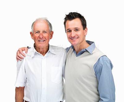 Buy stock photo Portrait of a handsome son with his father against white background