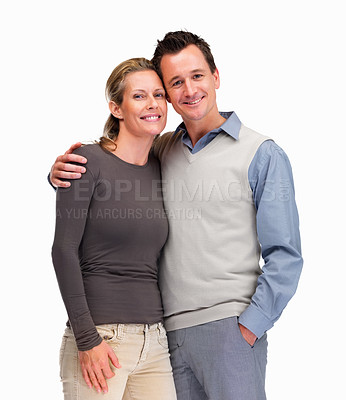 Buy stock photo Portrait of a smiling mature man and woman standing together against white background