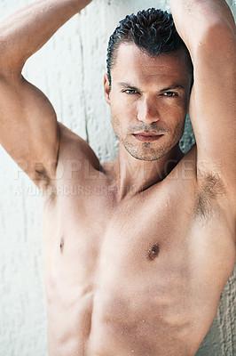 Buy stock photo Portrait of masculine man giving sensuous look