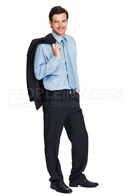 Buy stock photo Full length of handsome young business man smiling over white background