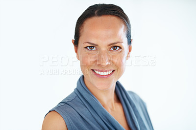 Buy stock photo Portrait of pretty mixed race woman smiling on white background