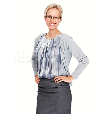 Buy stock photo Portrait of young business woman giving warm smile on white background