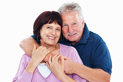 Buy stock photo Portrait of handsome mature man embracing woman on white background