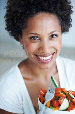 Buy stock photo Closeup portrait of beautiful African American woman eating vegetable salad