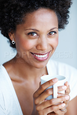 Buy stock photo Closeup of beautiful woman relaxing with cup of tea