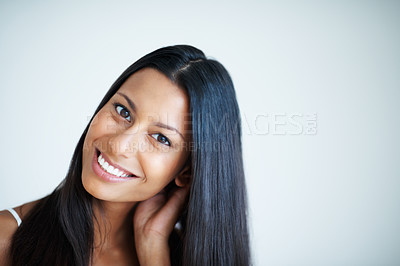 Buy stock photo Closeup of beautiful mixed race woman with healthy black hair