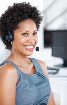 Buy stock photo Attractive female customer service representative smiling at work