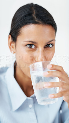 Buy stock photo Closeup of mixed race business woman drinking water