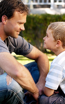 Buy stock photo Little boy mimicking his father smiling