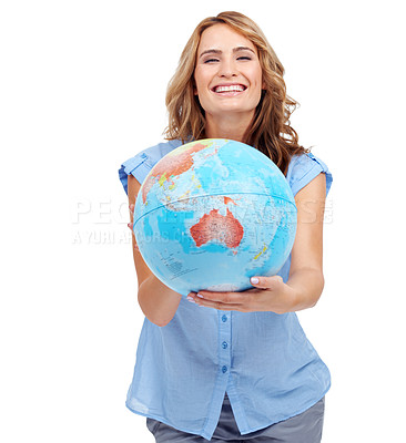 Buy stock photo A pretty young woman showing you Australia on a world globe