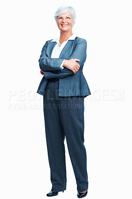 Buy stock photo Full length of confident senior business woman with arms crossed over white background