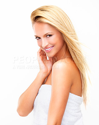 Buy stock photo Portrait of a beautiful blonde woman with flawless skin looking shower-fresh gazing at you, isolated on white