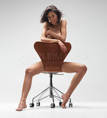 Buy stock photo Sexy nude young woman sitting on a chair - isolated