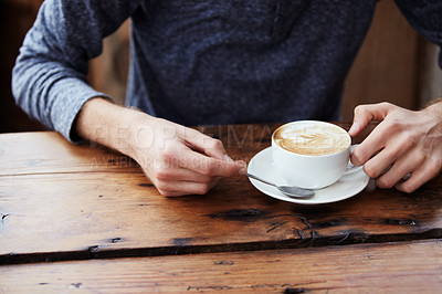 Buy stock photo Cropped image of male hands and a cup of coffee
