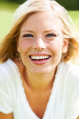Buy stock photo Beautiful young woman laughing and smiling outdoors