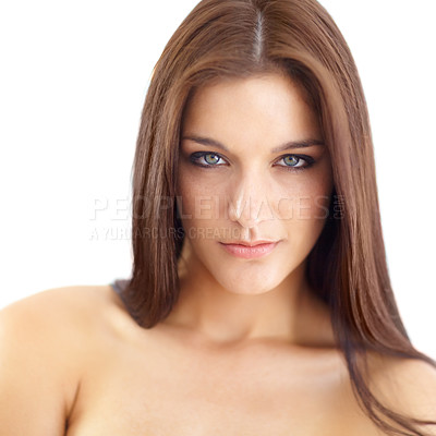 Buy stock photo Portrait of a beautiful young brunette on a white background