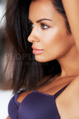 Buy stock photo Profile of a beautiful young woman in her lingerie