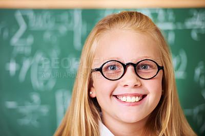 Buy stock photo Portrait of a cute blonde girl in class