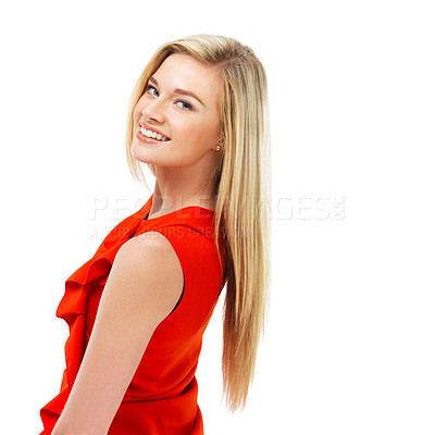 Buy stock photo A stunning young blonde woman in a red dress looking over her shoulder