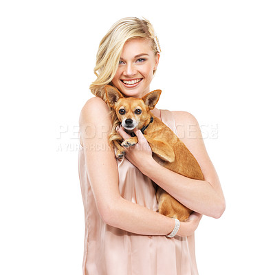 Buy stock photo Portrait of a pretty young blonde woman holding a dog