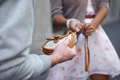 Buy stock photo Closeup cropped image of a  woman having her bag snatched by a criminal
