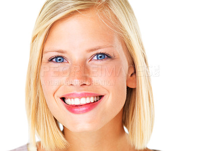 Buy stock photo Gorgeous young blond woman smiling happily against a white background