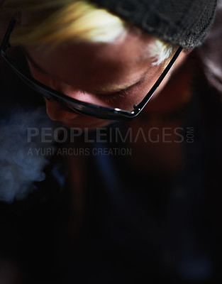 Buy stock photo High-angle view of a young guy in urban wear