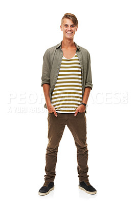 Buy stock photo A full length studio shot of a stylishly dressed young man