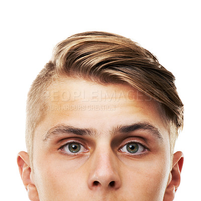Buy stock photo Cropped portrait of the upper half of a young man's face isolated on white