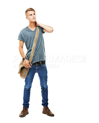 Buy stock photo A full length studio portrait of a stylish young man carrying a messenger's bag isolated on white