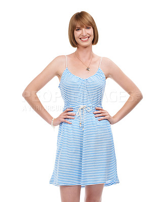 Buy stock photo Portrait of an attractive young woman smiling with her hands on her hips