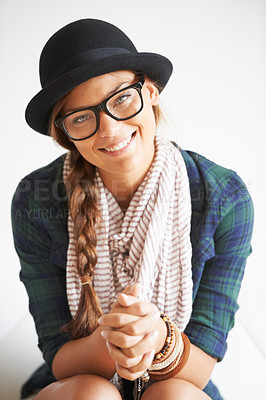Buy stock photo Shot of a stylish young woman laughing