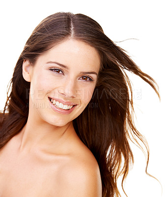 Buy stock photo Studio portrait of a beautiful young woman with perfect skin isolated on white