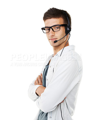 Buy stock photo Portrait of a hipster man with a headset on crossing his arms