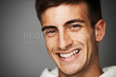 Buy stock photo Close up portrait of a smiling male