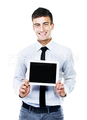 Buy stock photo A portrait of a male smiling and holding up a touch screen