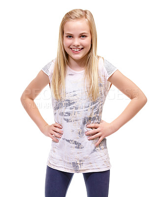 Buy stock photo Young girl posing confidently against a white background