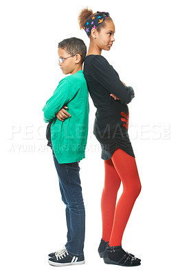 Buy stock photo Siblings standing back to back after having a fight