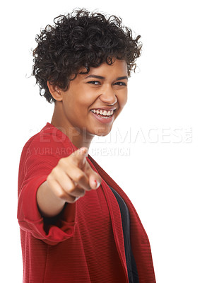 Buy stock photo A gorgeous young woman pointing her finger at the camera while smiling