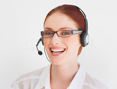 Buy stock photo A young telemarketer speaking to a client